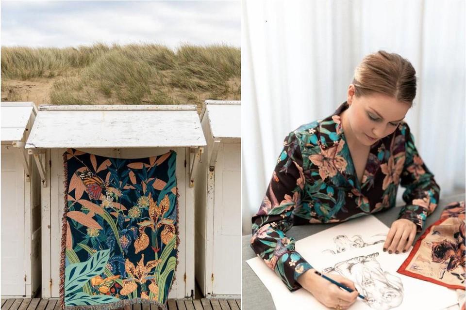 De plaids dragen de kleurrijke stempel van de Genkse ontwerpster Marylène  Madou.