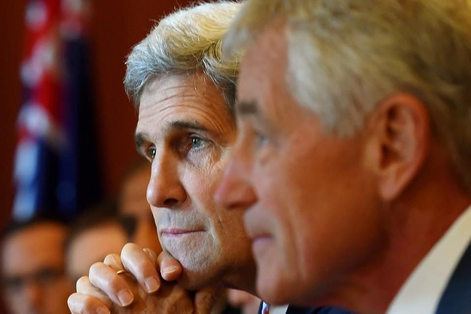 De Amerikaanse minister van Buitenlandse Zaken Kerry en Hagel, minister van Defensie.