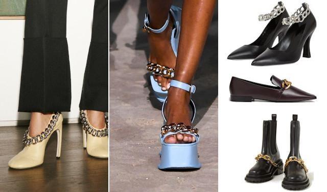 Victoria Beckham en Versace/ zwarte pumps - 295 euro - The Kooples, bruine loafers - 59,99 euro - Mango en zwarte laarzen - 395 euro - Sandro