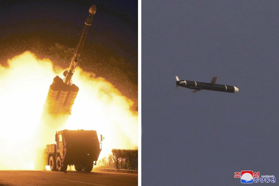 Staatspersbureau KCNA verspreidde deze foto's.