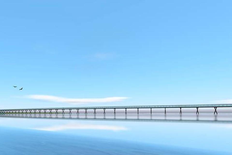 Een simulatie van de fietsbrug over het Oldambtmeer