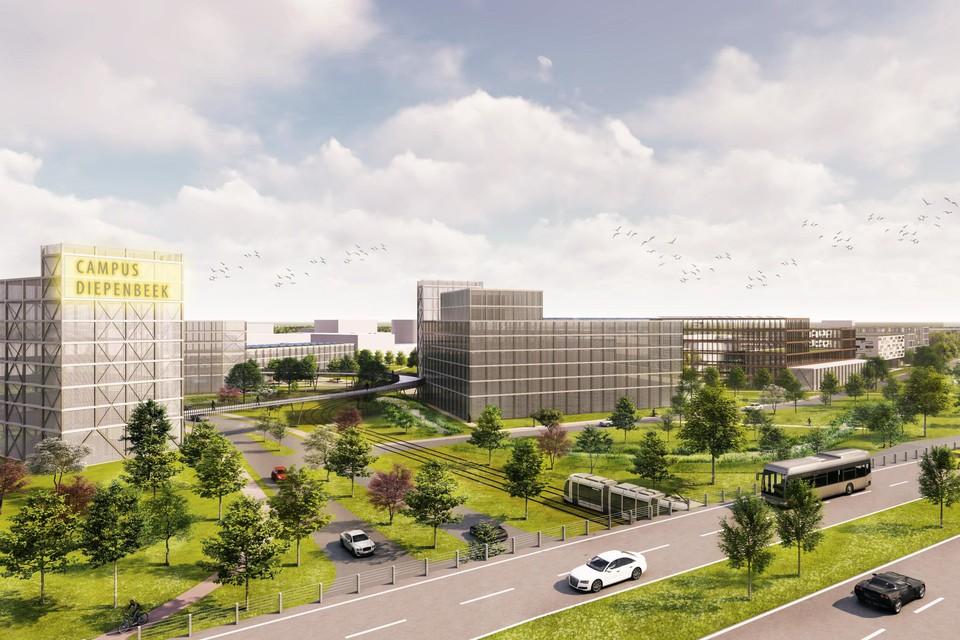 De nieuwe gebouwen van de Health Campus vormen straks de nieuwe toegangspoort richting Campus Diepenbeek.