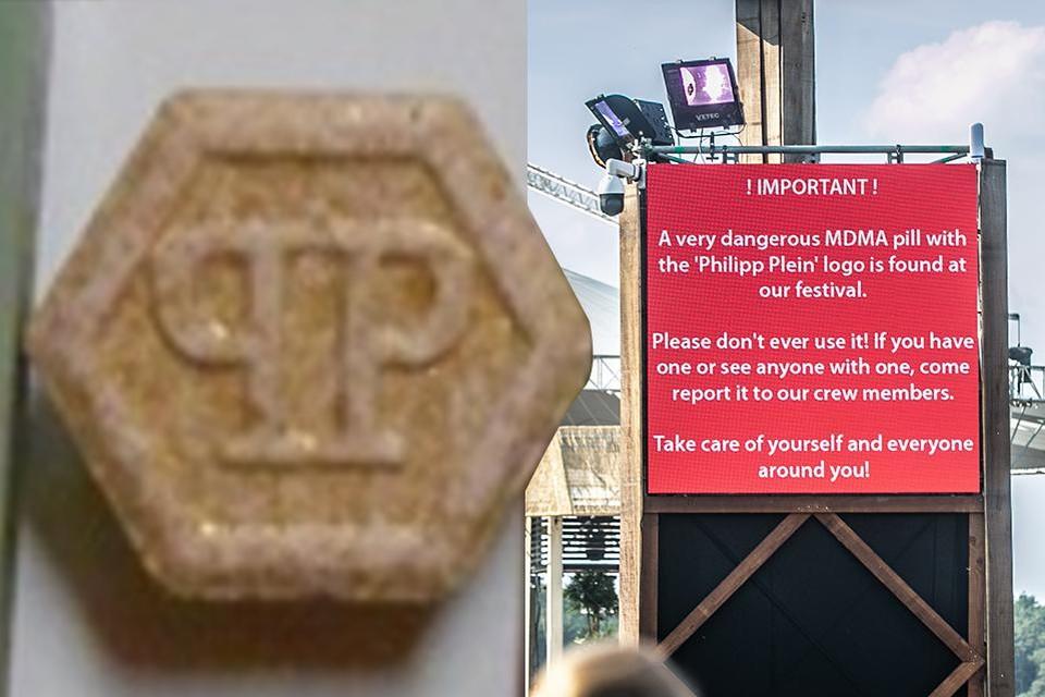 De Nederlander had onder meer xtc-tabletten met het logo van Philippe Plein op zak. De tabletten hebben een zeer hoge dosis MDMA en zijn daarom heel gevaarlijk.