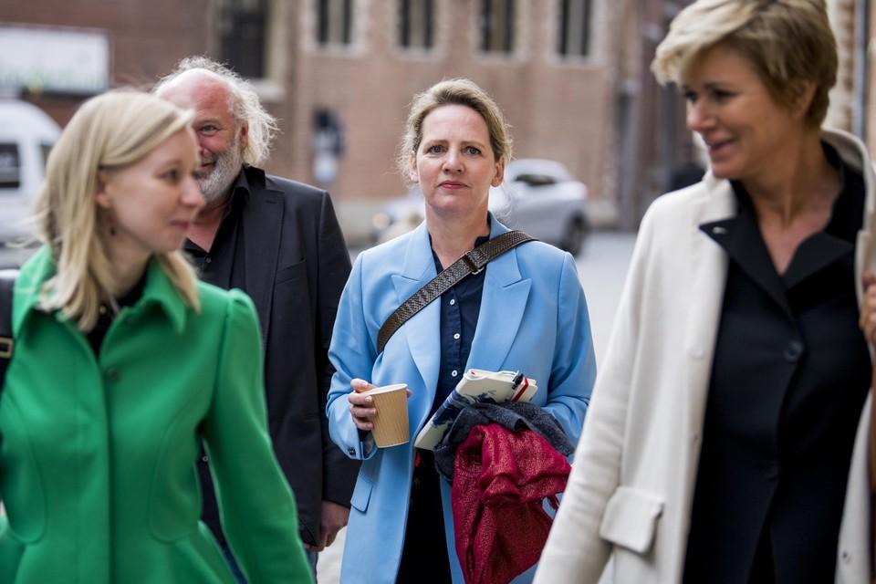 Onder meer actrice Maaike Cafmeyer nam donderdagochtend het woord op de tweede dag van het proces-De Pauw.