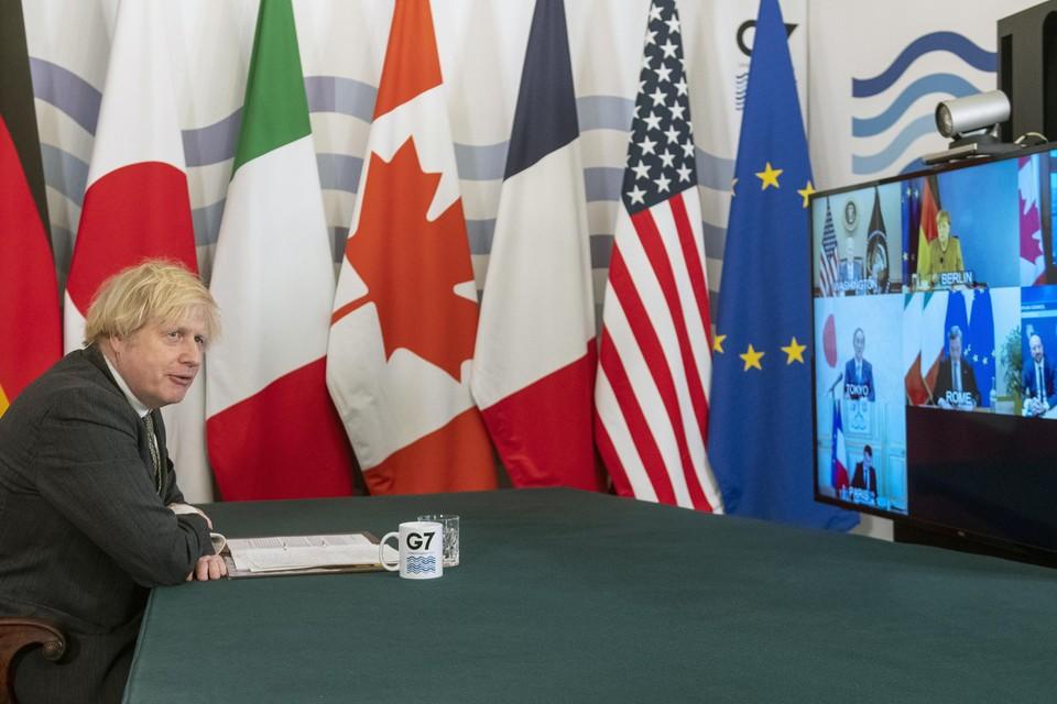 Boris Johnson tijdens een digitale G7-bijeenkomst.