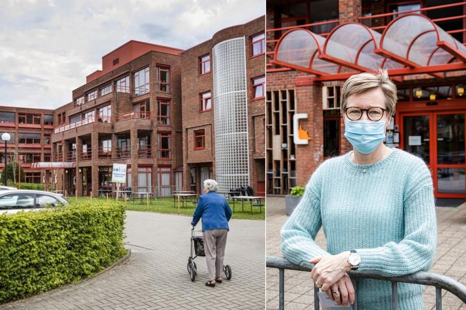 Links: woonzorgcentrum Compostela in Borsbeek. Rechts: directeur Valérie Henckes.