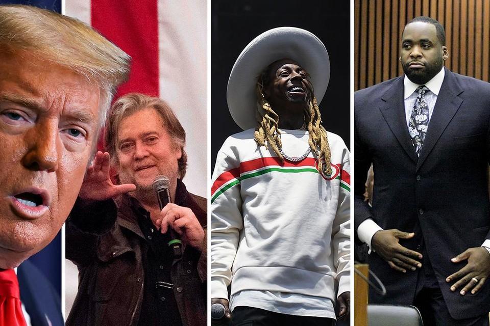 Kregen gratie van president Trump: adviseur Steve Bannon, rapper Lil Wayne, en voormalig burgemeester van Detroit Kwame Kilpatrick.