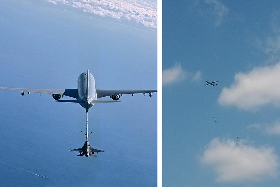 Een lezer zag de formatie boven Kaulille (Bocholt, rechtse foto), links: het toestel in actie.