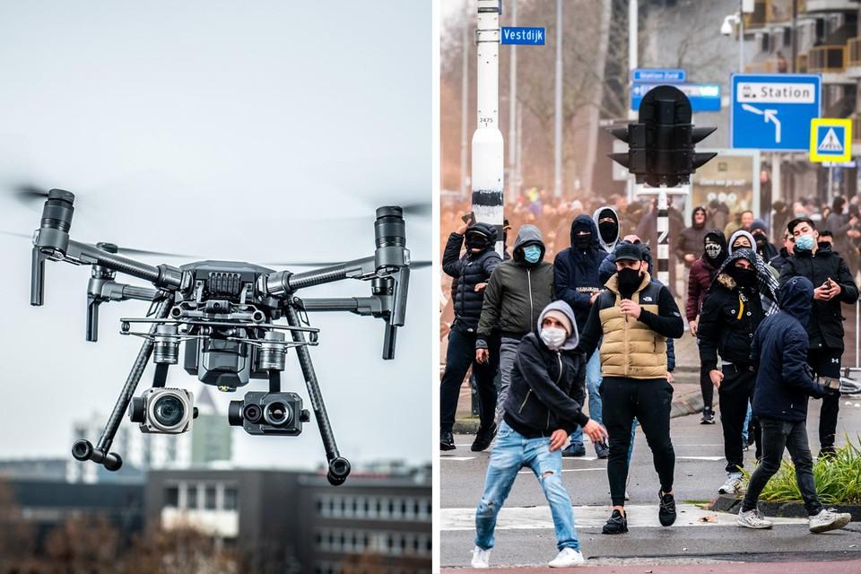 De politie Carma kan drones (links) inzetten als het in Genk net zoals in Nederland (rechts) tot protesten komt.