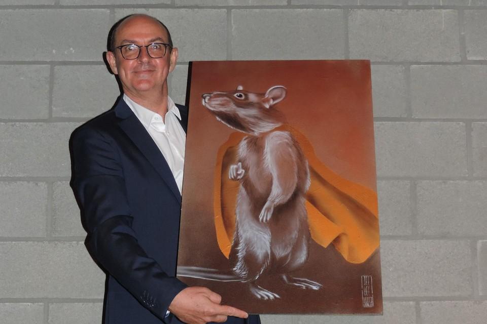 Christophe Cox kreeg een kunstwerk met rat Magawa als superheld
