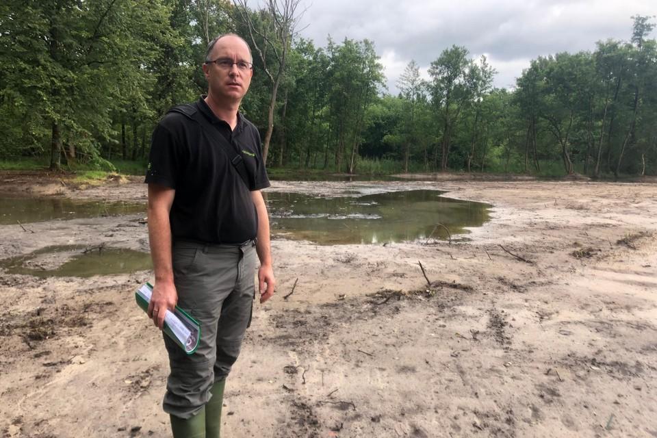 """Nico Paepen van Natuurpunt Lille staat in het natuurgebied Kindernouw op de plaats waar een vijver werd gedempt. """"We hebben wel degelijk de meeste vissen uit de vijver gehaald"""", zegt hij."""