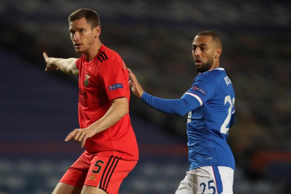 Jan Verthonghen met Benfica tegen Rangers FC.
