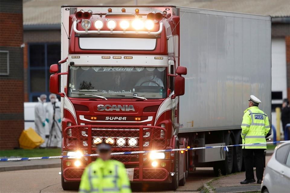 De vrachtwagen waarin vorig jaar de lichamen van 39 Vietnamezen werden teruggevonden.