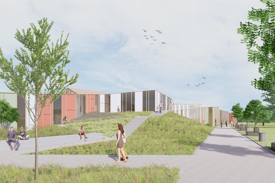 Deze tekening geeft een beeld van hoe het nieuwe revalidatie- en MS-centrum er zal uitzien aan de achterkant van het ziekenhuis.