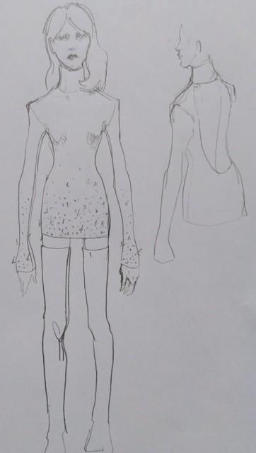 Een schets van de outfit van Geike.
