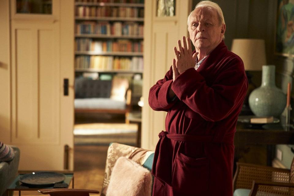 Oscarwinnaar Anthony Hopkins als dementerende bejaarde in 'The Father'.