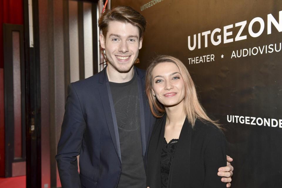 Tinne Oltmans en Juan Gerlo in 2019, op de première van 'Assisen'