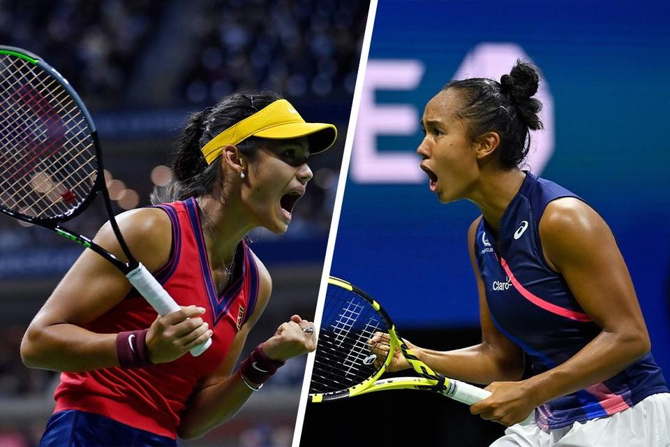 Emma Raducanu (links) versus Leylah Fernandez: ofwel de nummer 150 tegen 73 op de wereldranking.