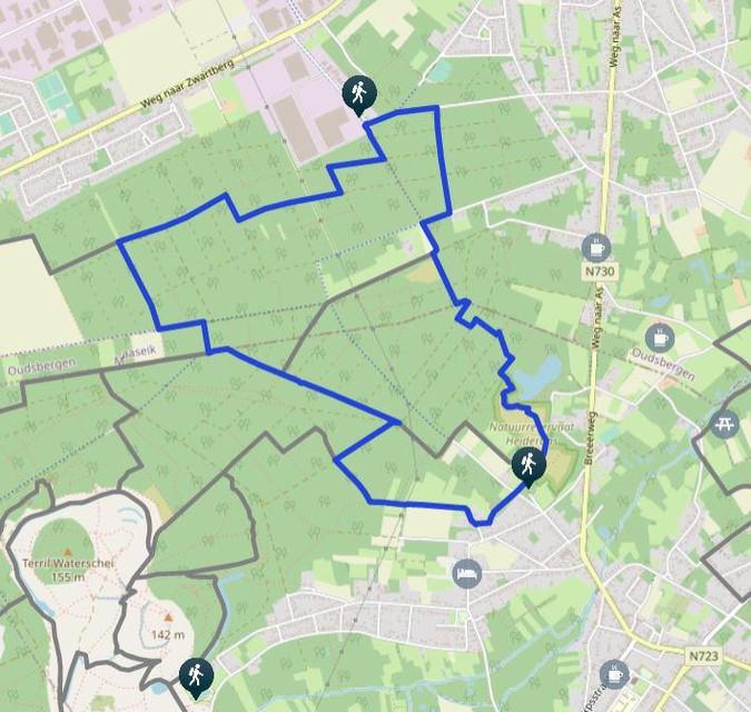 De blauwe route in As