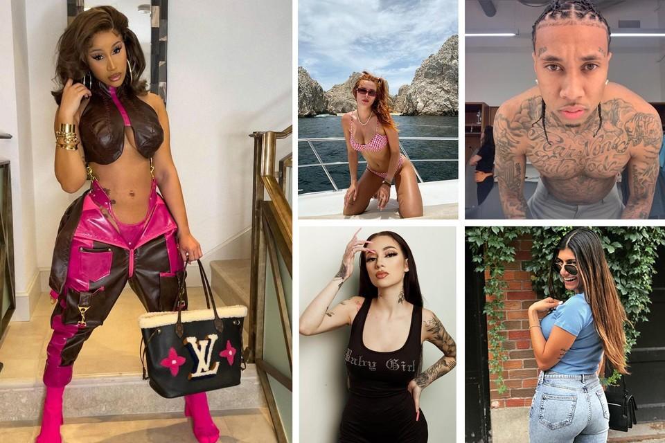 Van links in wijzerzin: Cardi B, Bella Thorne, Tyga, Mia Khalifa en Bhad Bhabie, voor een prijsje te bewonderen op Onlyfans.