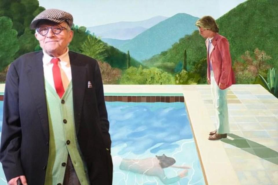 David Hockney hier met zijn bekendste schilderij: Portrait of an artist (pool with two figures).