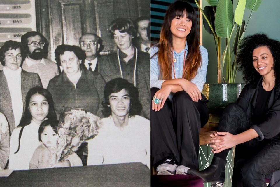 Links: het gezin Nguyen op 1 december 1979. Rechts: Xuan Erika Nguyen en Sihame El Kaouakibi.