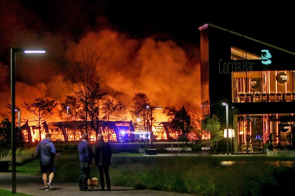 Een aangestoken brand legde in oktober 2017 een loods op de Corda Campus volledig in de as.