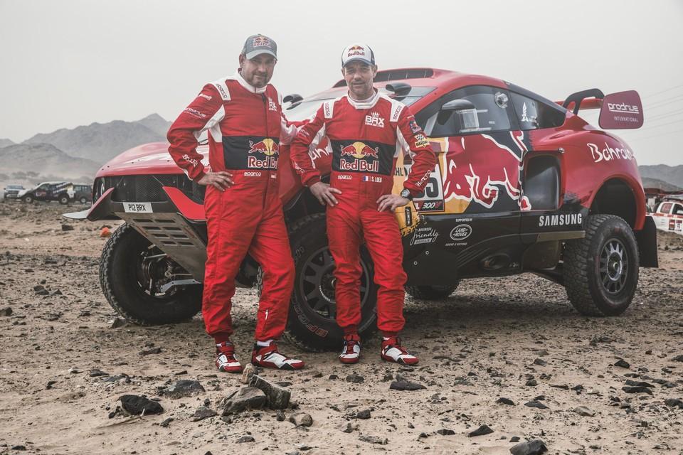 Daniel Elena (links) en Sebastien Loeb bij hun laatste wedstrijd samen, de Dakar 2021.