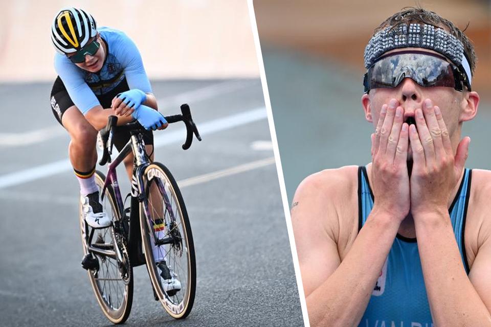 Wielrenster Lotte Kopecky (links) en triatleet Marten Van Riel (rechts)  grepen netnaast het eremetaal.