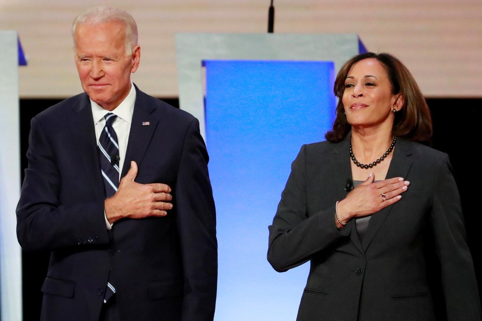 De Amerikaanse presidentskandidaat Joe Biden en zijn running mate Kamala Harris.