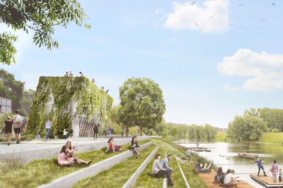 Op het dak van het nieuwe bezoekerscentrum komt er een uitkijkplatform met zicht op de Maas en de Maasplassen in natuurgebied Negenoord- Kerkeweerd.