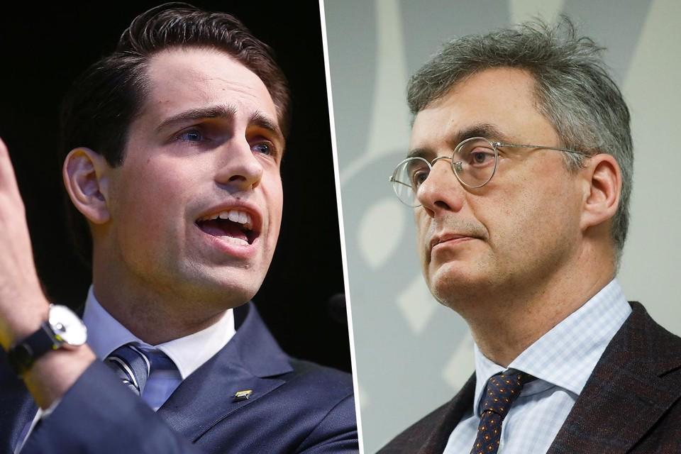 Links: Tom Van Grieken (Vlaams Belang), rechts: Joachim Coens (CD&V).