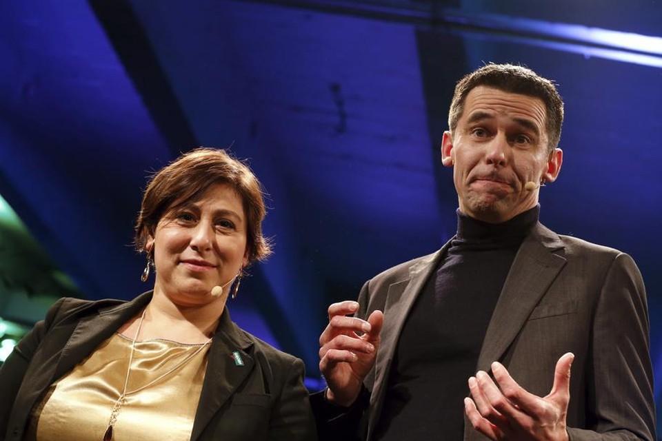 De groene partijvoorzitters Meyrem Almaci (Groen) en Jean-Marc Nollet (Ecolo).