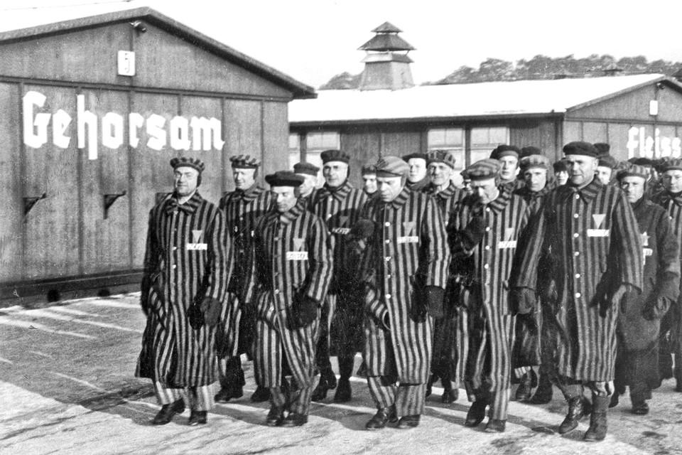 Gevangenen van kamp Sachsenhausen in februari 1941