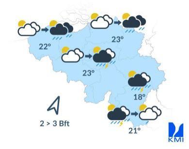 De weersverwachtingen voor vrijdag.