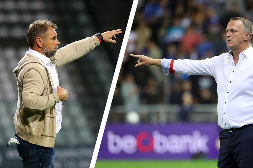 De clash van de coaches: links Bernd Hollerbach, rechts John van den Brom.