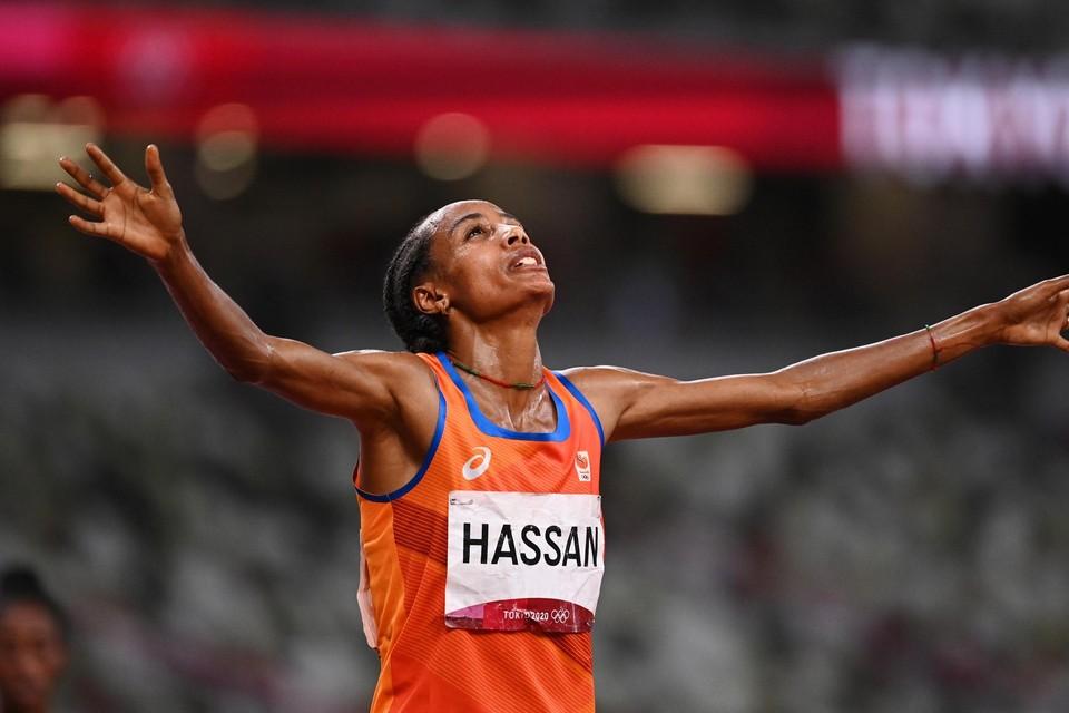 De eerste olympische titel is binnen voor Hassan. Nog twee te gaan.