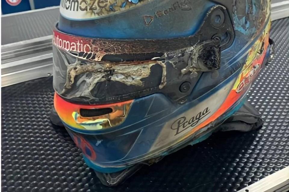 De F1-helm van Romain Grosjean na zijn verschrikkelijke crash