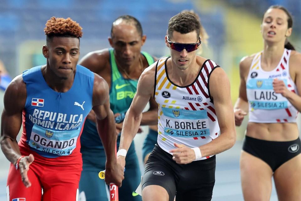 Kevin Borlée kwam als slotloper van de gemengde 4x400m nog dicht bij   het podium maar moest het brons uiteindelijk laten aan de Dominicaanse Republiek.