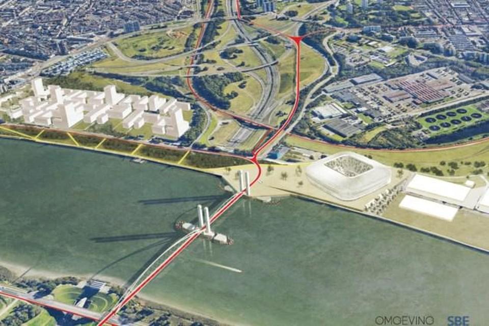 In de plannen van de fietsbrug over de Schelde werd ook al plaats voorzien voor de mogelijke bouw van een voetbalstadion.