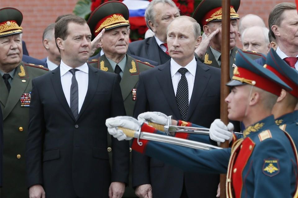 Russisch premier Dmitri Medvedev en president Vladimir Poetin.