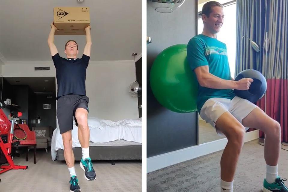 Ook op zijn hotelkamer probeert Kimmer Coppejans te trainen.