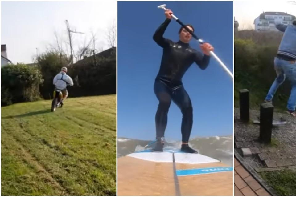De vlogger waagde zich aan motorcross, suppen en skaten.
