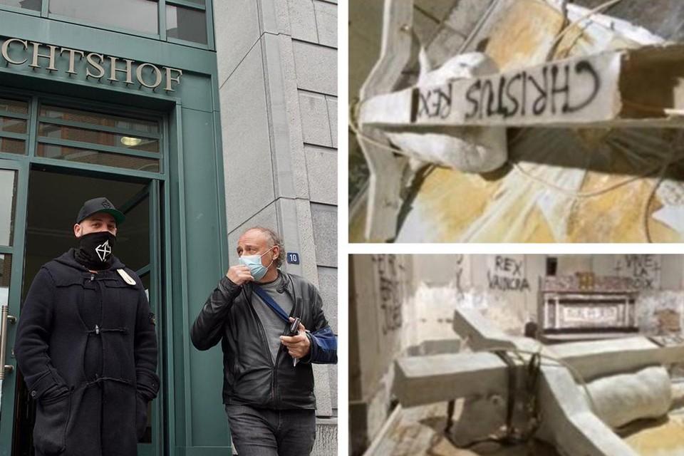 Tom Herck en zijn vader bij het verlaten van de rechtbank. Zijn kunstwerk in de kerk van Kuttekoven werd door vandalen vernield.