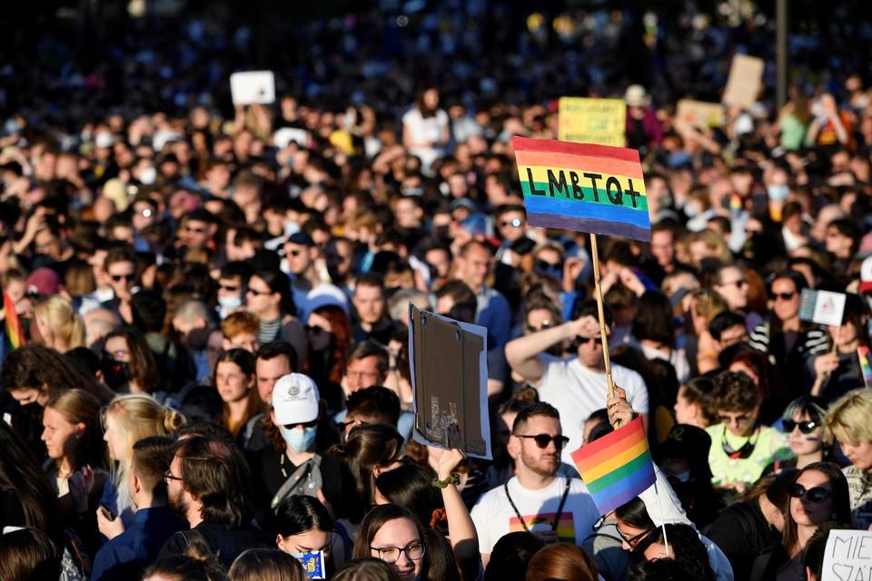 Er was heel wat protest tegen de wet in de straten van Boedapest.