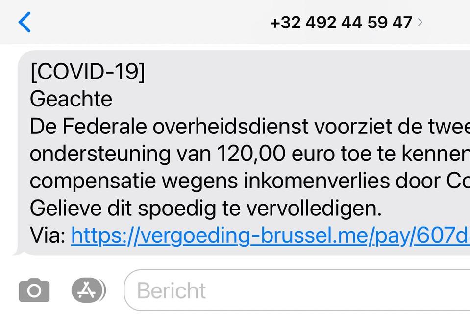 Bij deze phishing geven de fraudeurs zich uit als vertegenwoordigers van de federale overheid terwijl een klik verder het logo van de Vlaamse overheid staat.