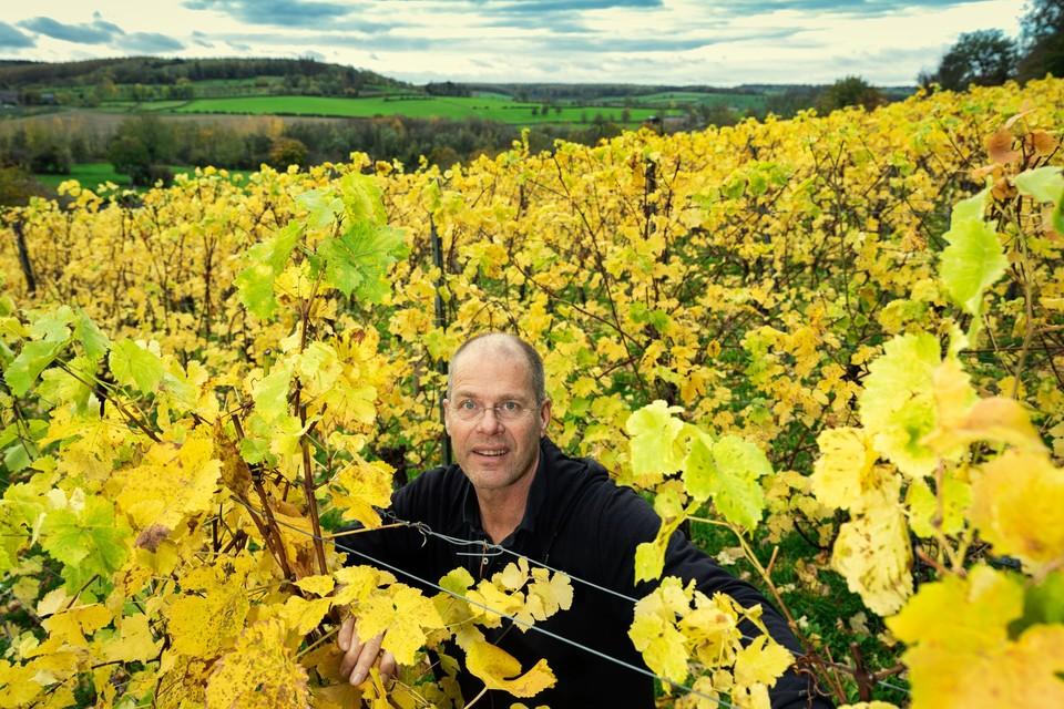 Albert Meijer in zijn wijngaard aan de Crindael in Voeren.