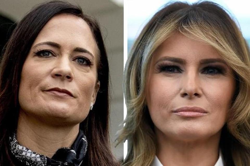Voormalig stafchef Stephanie Grisham (links) en voormalig first lady Melania Trump kunnen niet langer door één deur.
