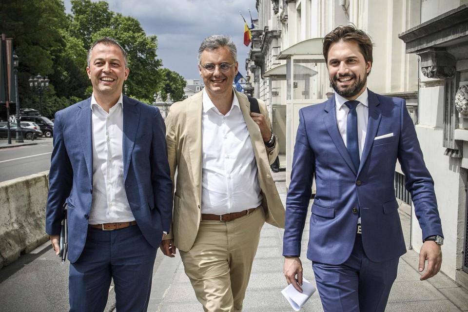 Egbert Lachaert, Joachim Coens en Georges-Louis Bouchez. Wanneer landen ze?