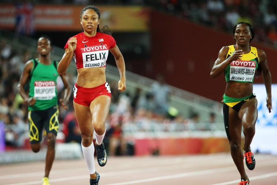 Allyson Felix wint de 400m bij de vrouwen